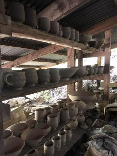 Some ceramics that are being dried out.